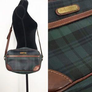 1980's Ralph Lauren Green Black Tartan Plaid Bag
